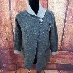 JNY Gray Wool Blend Cardigan Coat